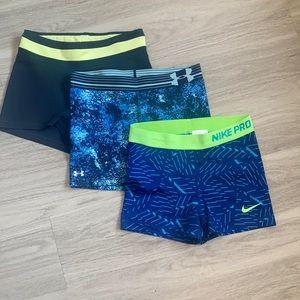 Compression Shorts Lot - UA, NIKE & Adidas